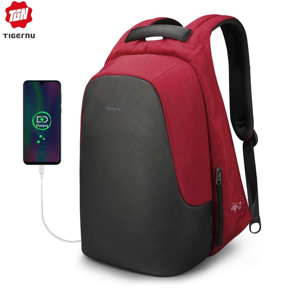 Tigernu 2019 Women Casual Backpack Anti Theft 15.6 Inch Laptop Waterproof Men USB Charging Travel High Quality Backpacks Bags