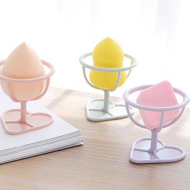 Ev ve Bahçe'ten Makyaj Organizatörleri'de Tuvalet masası organizatör puf güzellik makyaj yumurta köpük depolama raf kurutma rafı kalp şeklinde taban saklamak kolay puf Dropship title=