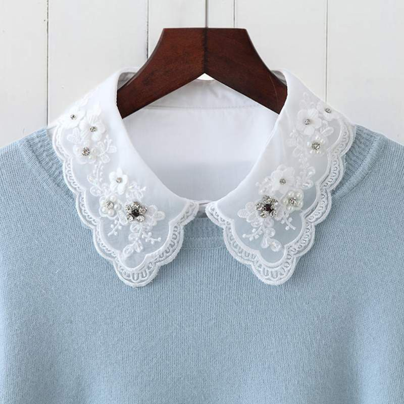 Women Fashion Imitation Pearl Fake Collar Detachable Dual Mesh Lapel Necklace