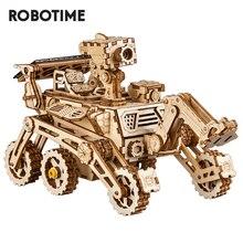Robotime ROKR DIY energía Solar, bloques de madera de juguete, modelo de construcción, juego de caza espacial, juguetes para niños
