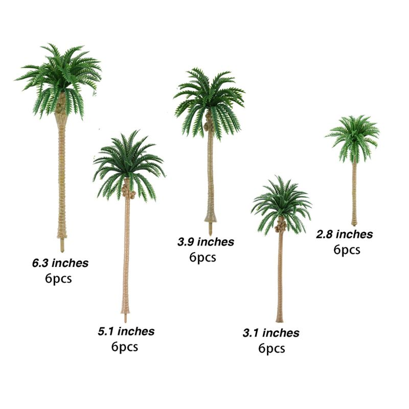 30pcs Artificial Coconut Palm Trees Scenery Model Miniature Architecture Trees E65B