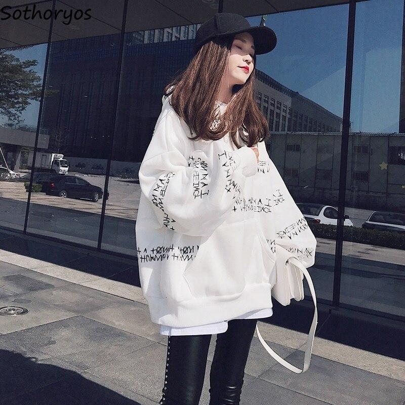 Hoodies Women Hooded 2020 Long Letter Printed Loose Harajuku Sweatshirts Womens Korean Style Ulzzang Ladies Leisure Clothing