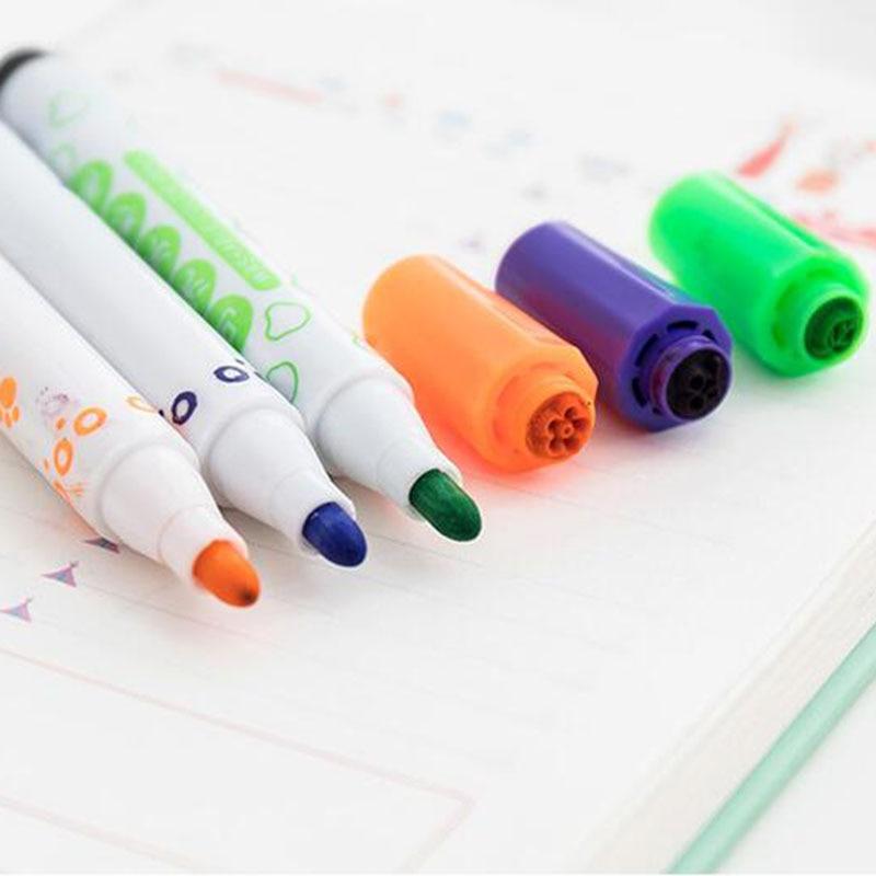 12 cores kawaii selo lavável caneta aquarela