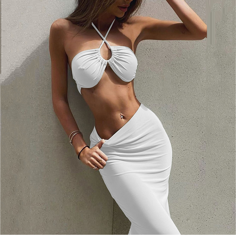 NewAsia Sexy Crop Top Long Skirts Two Piece Set Women 4 Ways To Wear Solid Party Suit Beach 2 Piece Sets Summer Clothes Outfits