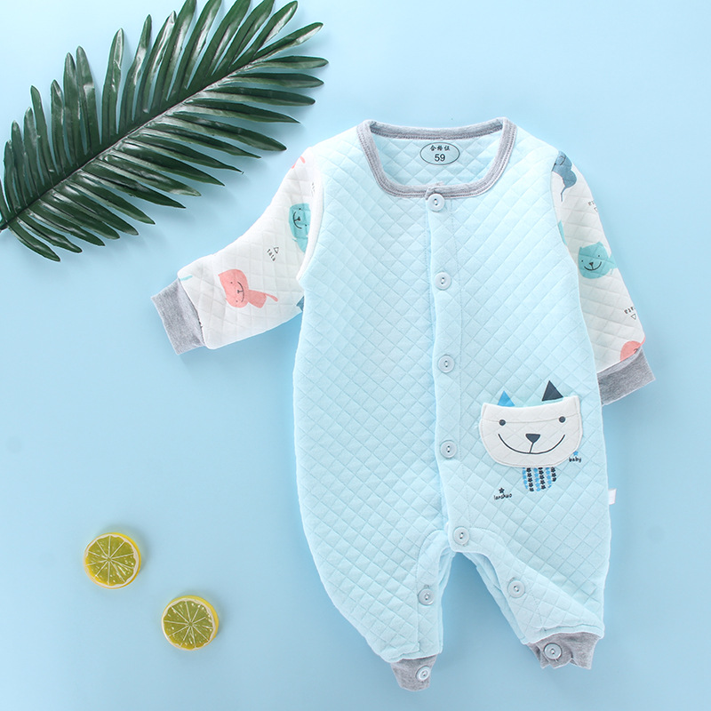 2019 Autumn And Winter New Style Baby Romper Long Sleeve Padded Three Layer Warm Onesie Small CHILDREN'S BABY'S FIRST Month Romp
