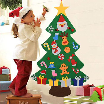 Kids DIY Felt Christmas Tree Christmas Decoration for Home Navidad 2021 New Year Gifts Christmas Ornaments Santa Claus Xmas Tree 1