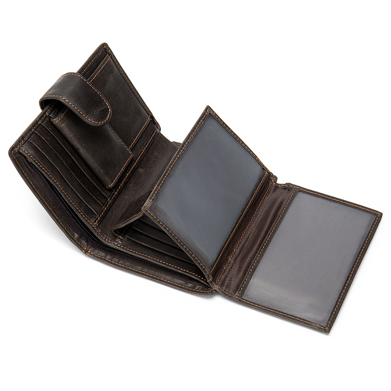 AURAY Fashion Male Men Genuine Leather Wallet Men Wallets Luxury Money Bag Short Card Holder Wallet Mens Men's Wallet Of Leather