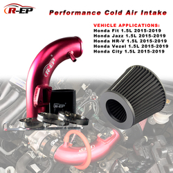 R-EP Kinerja Dingin Udara Asupan dengan Filter Cocok untuk Honda Fit Jazz HR-V VEZEL Kota 1500CC 2015-2019 Aluminium induksi Pipa