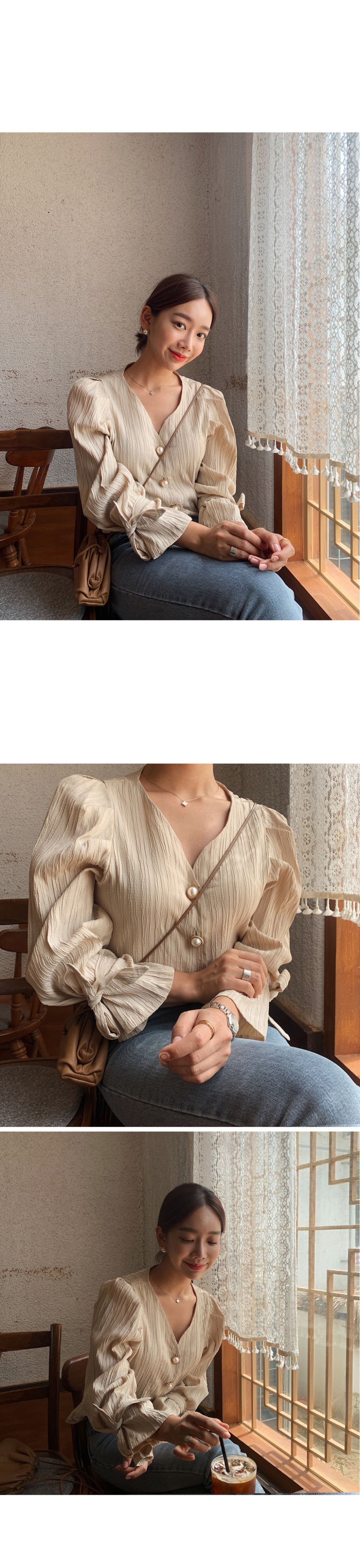 H644898f0f7e94f19afd9927938329c627 - Spring / Autumn Korean Long Sleeves Pearl Buttons Solid Blouse