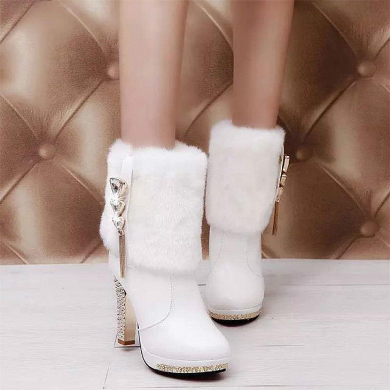 High Heels Snow Boots Women Leather Platform Plush Ladies Winter Shoes Warm Fur Ankle Boots for Women Botas Mujer 2019 Fashion 11