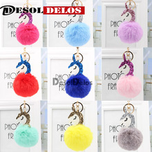 Unicorn Pompom Keychain Pom Poms Ball Faux Rabbit Fur Key Chain Bag Key Ring Artificial Fluffy Charm Car Keyring Christmas Gift цена в Москве и Питере