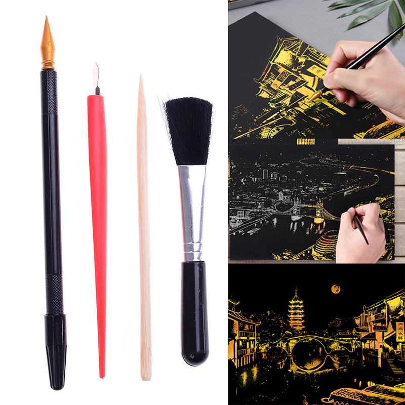 4Pcs With Stick Scraper Pen DIY Gift Painting Drawing Scratch Arts Set Black Brush For Scratch Sketch Art Papers Boards Tools