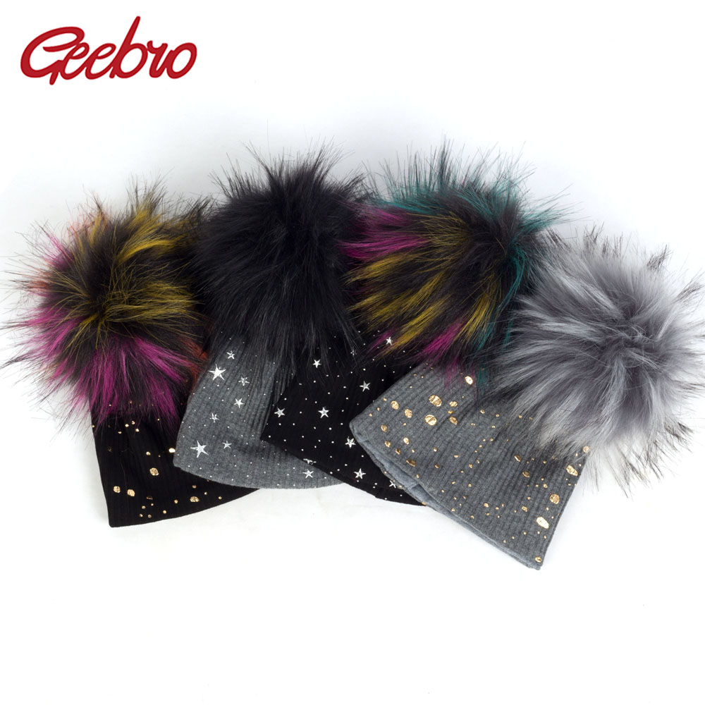 Geebro Fashion Baby Girls Boys Winter Warm Ribbed Cotton   Beanies   With Faux Fur Pom Pom Newborn Splatter Paint Star Hats DK945