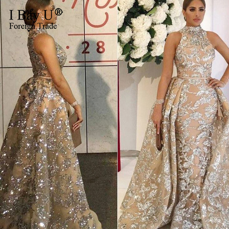 Glitter Sequins Sparkle Long Formal Evening Dress 2020 Mermaid Detachable Train Arabic Dudai High Neck Prom Gown Robe De Soiree