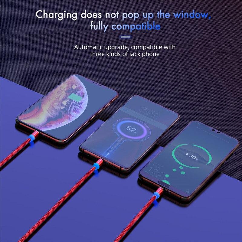 Câble magnétique de micro USB de type C, marque USLION pour iPhone, Android et Xiaomi 5
