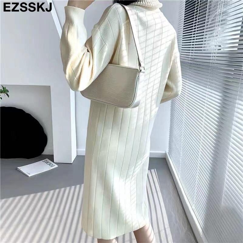 2021 Autumn Winter long thick Sweater Dress Women turtleneck long Sleeve straight maix Dress female girl warm long dress 2
