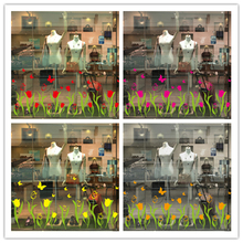 [Dreamarts] Tulips Style Glass Sticker Flowers Butterflies Wall Decals for Living Room Kindergarten Shop Window Decoration