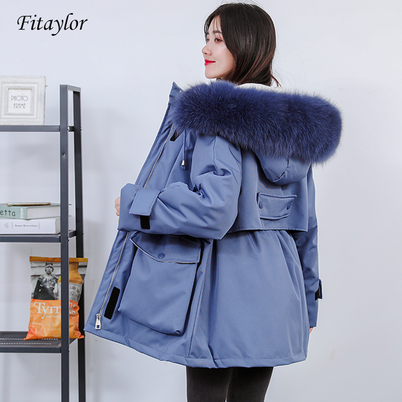 Fitaylor Winter Large Natural Fur Down Jacket Women White Duck Down Hooded Sash Tie Up Parkas Female Thick Warm Snow Coat
