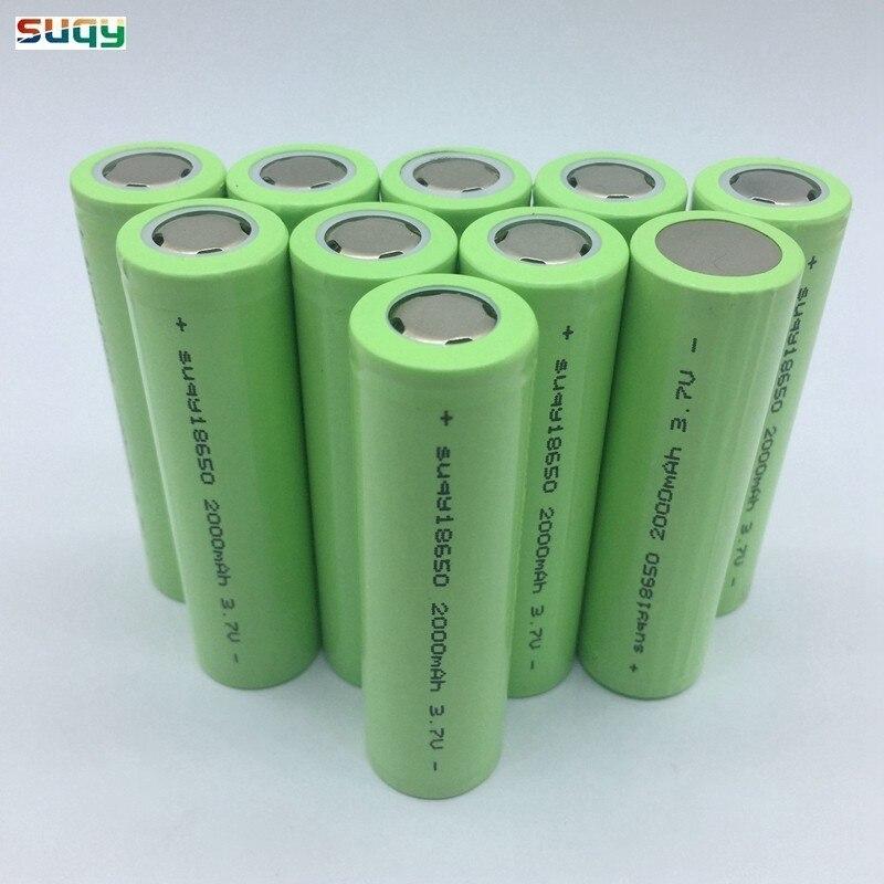 Suqy 100% 3.7v Lithium Ion Batterie 18650 Inr18650 2000mah Batterie 18650 Rechargeable Batterie Avec Chargeur pour torche LED jouets