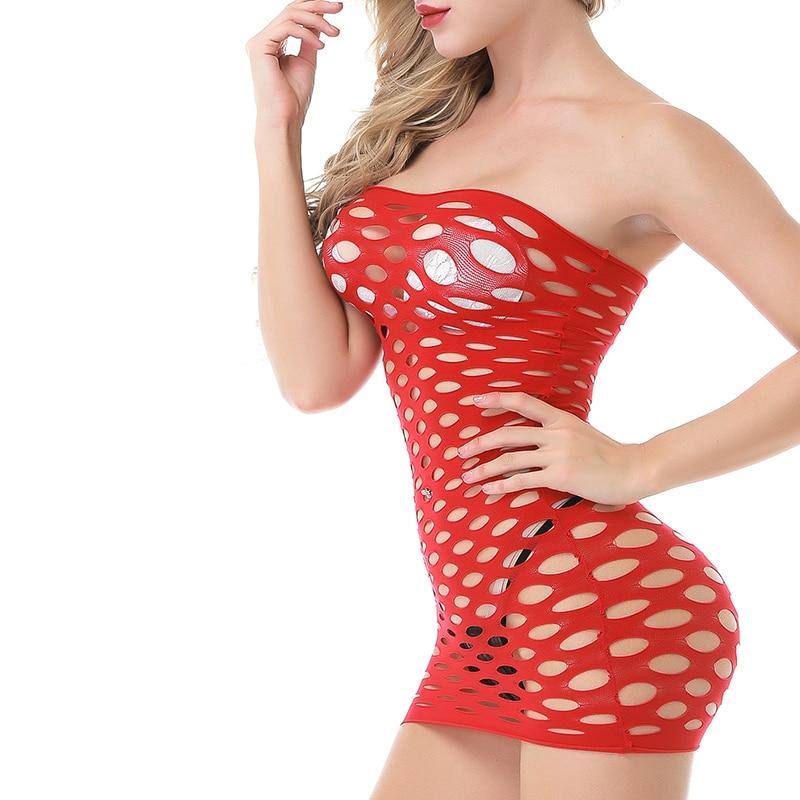 Ropa interior de red de algodón elástico, lencería Sexy, vestido de muñeca de malla caliente, lencería erótica para mujer, disfraces sexuales