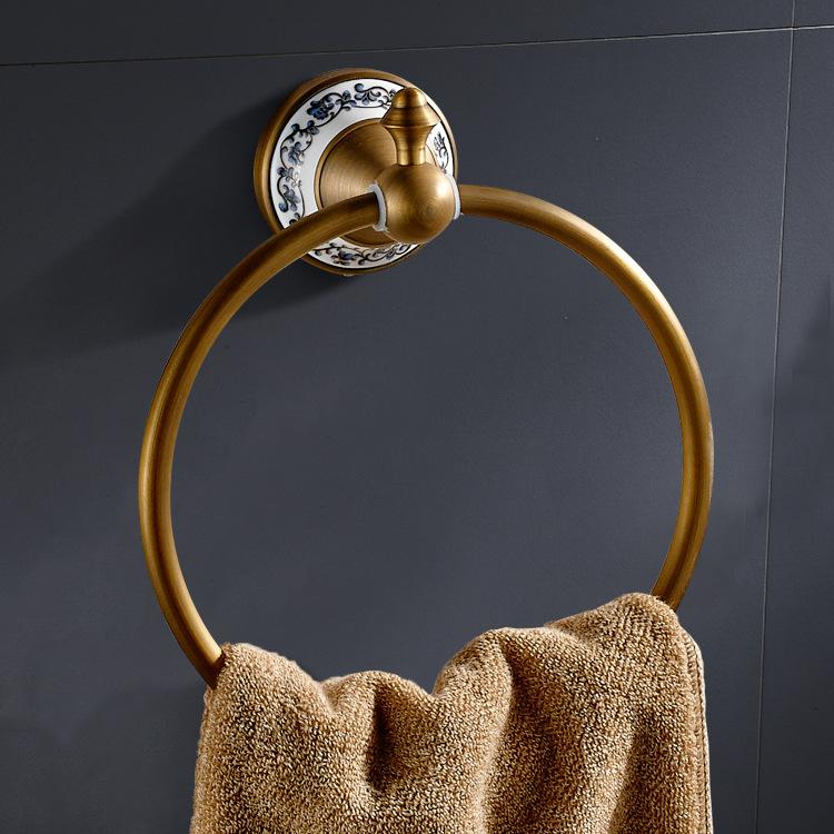 Wenzhou Manufacturers Wholesale Copper Vintage Brushed Towel Ring Toilet Paper Towels Bracelet Single Layer Ceramic Towel Ring