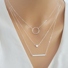 цена на Fashion Silver 3 Layered Chain Necklace Set Silver Bar Necklace Jewelry For Women Charms Jewelry Necklace Wedding Bride Gifts