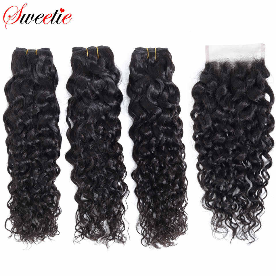 Sweetie Water Wave Bundles With Closure 3 Bundles Human Hair Weave Free Part Non Remy Brazilian Hair Weave Bundles With Closure