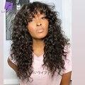Безклеевые вьющиеся человеческие волосы, парики для модных женщин, парик для кожи головы с челкой, бразильский Реми Луффи