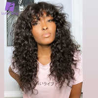 Pelucas de cabello humano rizado sin pegamento para mujer, peluca completa hecha a máquina con flequillo, cabello brasileño Remy LUFFY