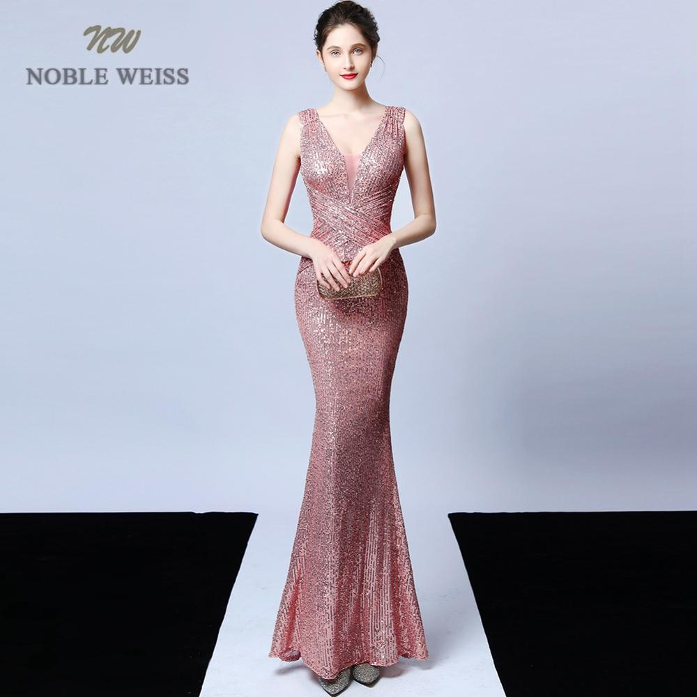 Prom Dresses Sexy V-neck Mermaid Pink/grey Pleat Sequin Prom Dress Floor Length In Stock Party Dresses