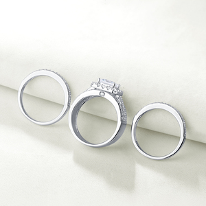 Image 5 - Wuziwen Halo חתונת טבעת סט לנשים 3Pcs מודגש 925 סטרלינג כסף אירוסין טבעות צלב נסיכה לחתוך זירקון קלאסי תכשיטים