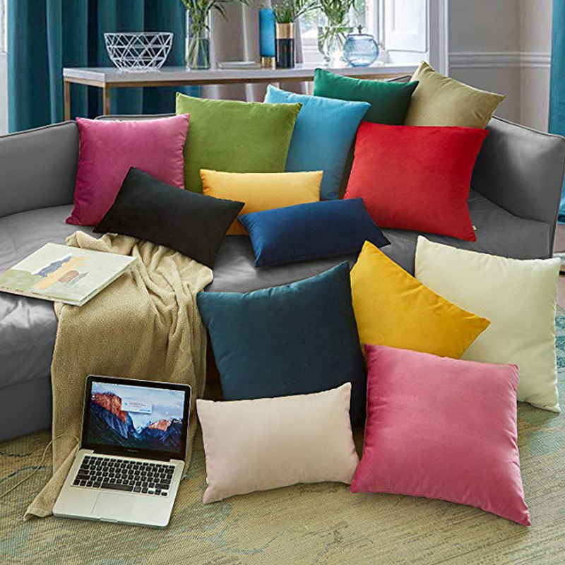 Soft Solid Velvet Decorative Cushion Cover Throw Pillow Case 45x45cm Pillowcase Home Decor For Sofa Seat Pillows Cover 3 Size