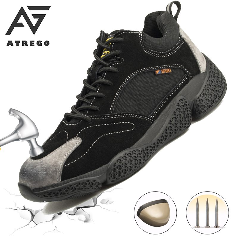AtreGo Mens Suede Leather Work Safety Shoes Steel Toe Anti puncture Anti Smash Impact Proof Lightweight Breathable Sneakers|Work & Safety Boots|   - AliExpress