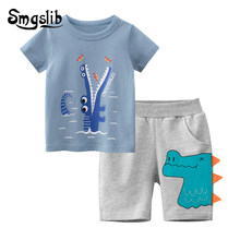 2021 Spring Summer Baby Boys Clothes Short Sleeve Print T-shirt+Cartoon Shorts Children suit Casual Outfits Kids Clothes Sets