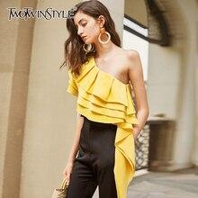 TWOTWINSTYLE Elegant Asymmetrical Women Shirt Skew Collar Sleeveless Patchwork Ruffles Irregular Hem Blouses For Female Fashion