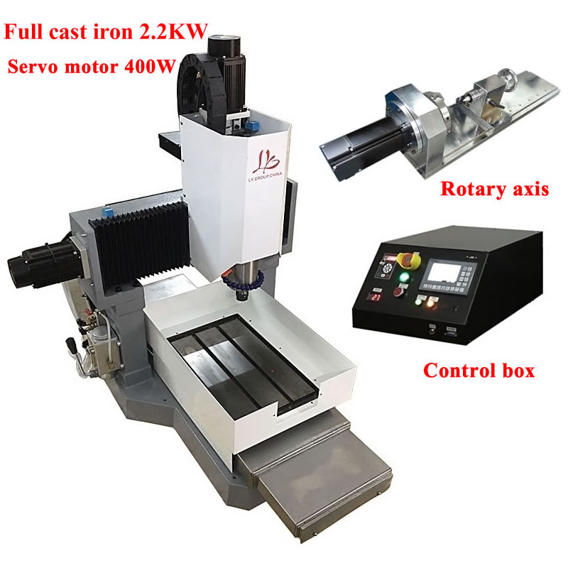 Full Cast Iron Cnc 3040 Router Metal Engraving Milling Machine 2200w 4axis Servo Motor Z Axis Height 250mm  Off-line Control