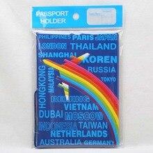 Travel Accessories Passport Cover Wallet Bag Cartoon Airplane Rainbow Women ID Address Holder