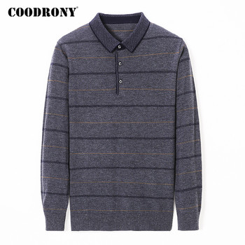 COODRONY Brand Sweater Men Spring Autumn Wool Pullover Striped Knitwear Shirt Business Casual Turn-down Collar Pull Homme Y1059 coodrony brand wool sweater men streetwear fashion striped pull homme spring autumn casual knitwear v neck pullover shirts c1089