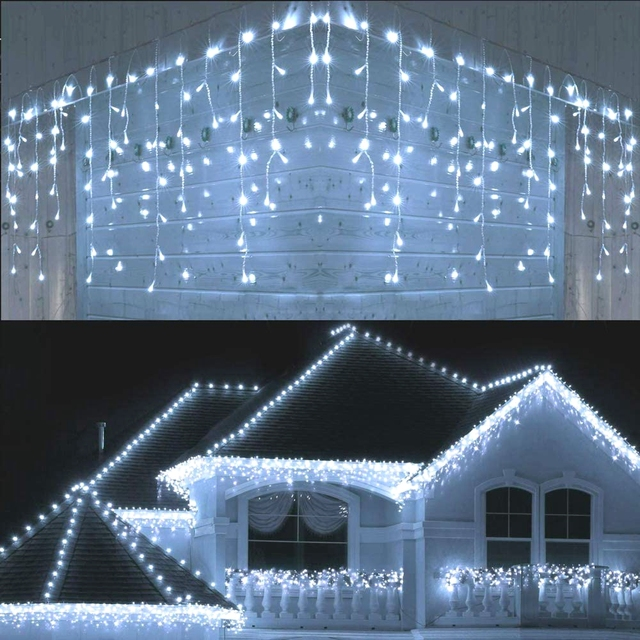 5M Waterproof Outdoor Christmas Light Droop 0.4 0.6m Led Curtain Icicle String Lights Garden Mall Eaves Decorative Lights