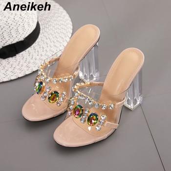 Aneikeh Summer Fashion Crystal Diamond Slides Clear PVC Transparent Slippers Women Shoes Peep Toe High Heels Mules Dress Pumps