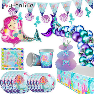Little Mermaid Party Disposable Tableware Kit Girl First Birthday Party Plates Cups Banner Under the Sea Kids Party Decoration