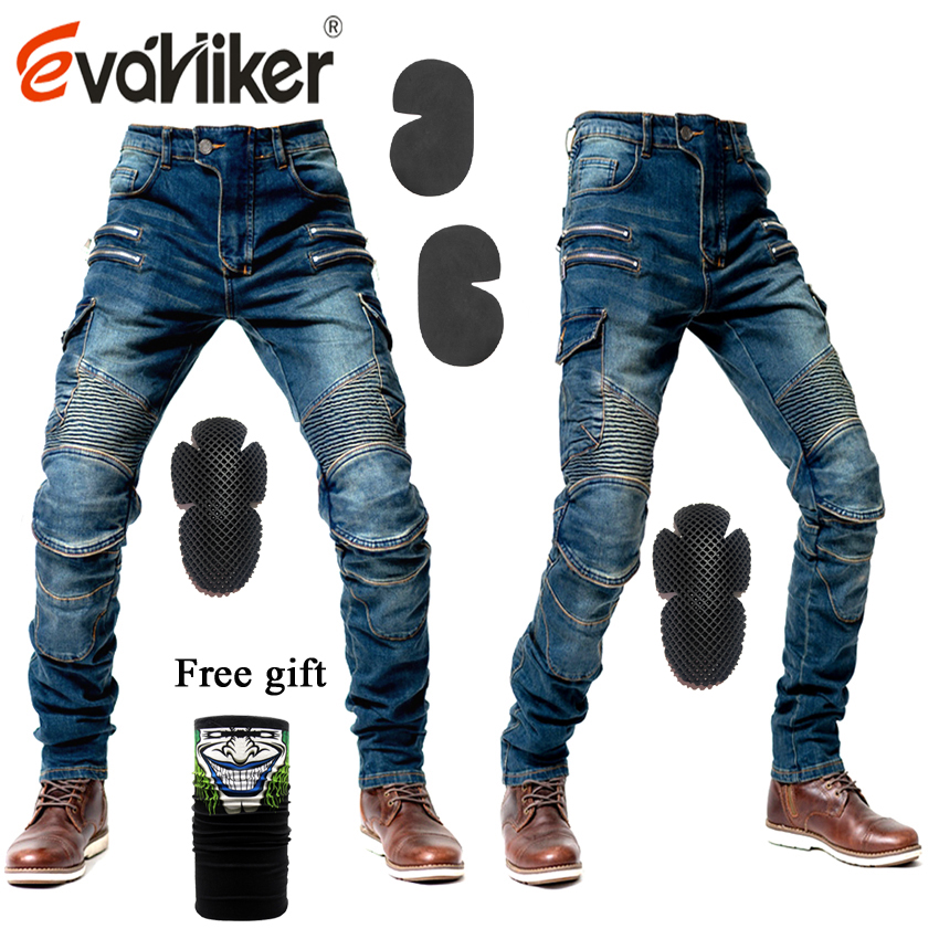2019 New Zip Pocket Motorcycle Pants Men Moto Jeans Protective Gear Riding Touring Motorbike Trousers Motocross Pants