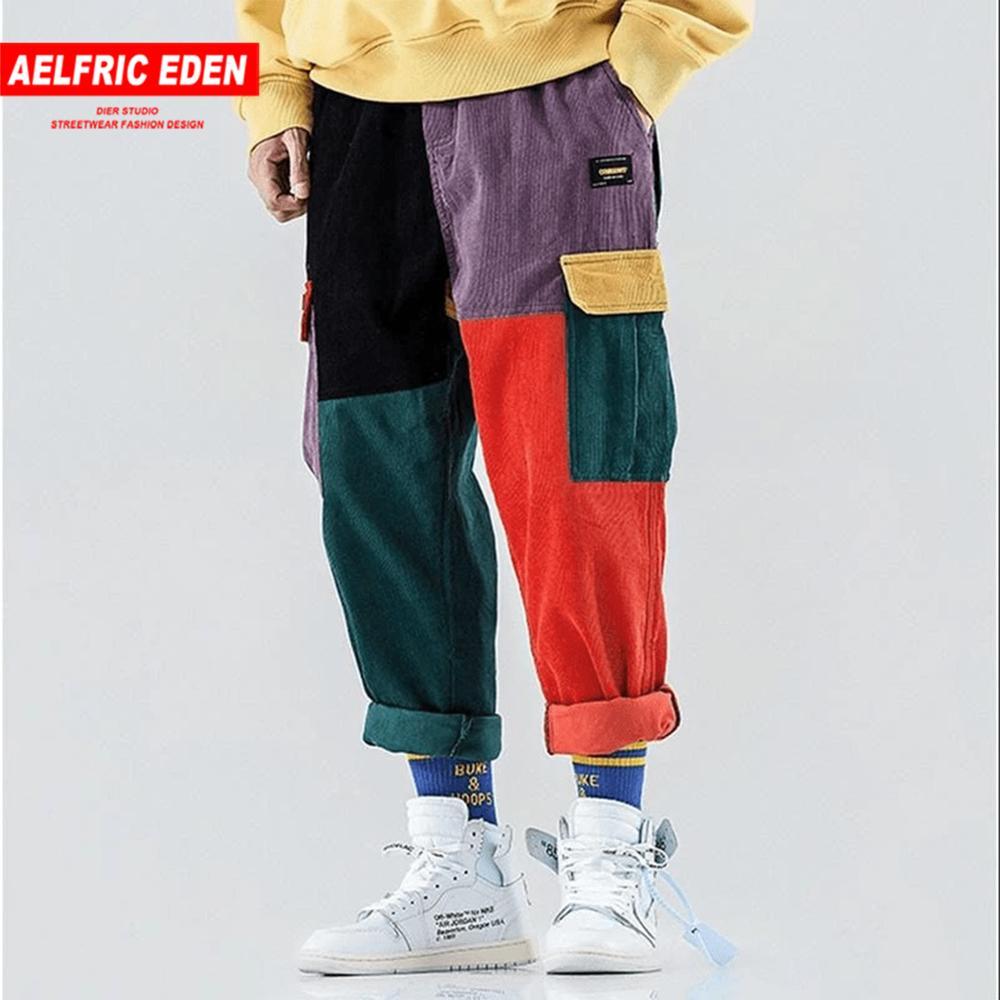Aelfric Eden Corduroy Sweatpants Cargo Pants Men Harem Jogger Harajuku Hip Hop Pants Trousers Men Streetwear 2020 Patchwork Male