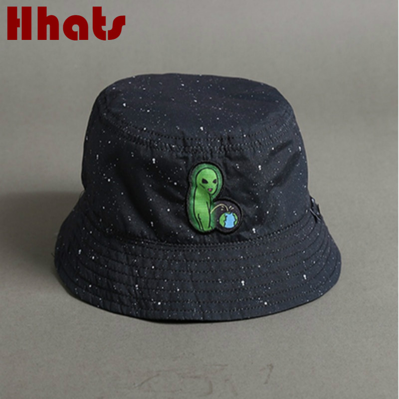 Alien Reversible Bucket Hat Casual Two Side Wear Starry Sky Sun Hat Outdoor Sports Fishermen Sunhat Unisex Fishing Cap Panama