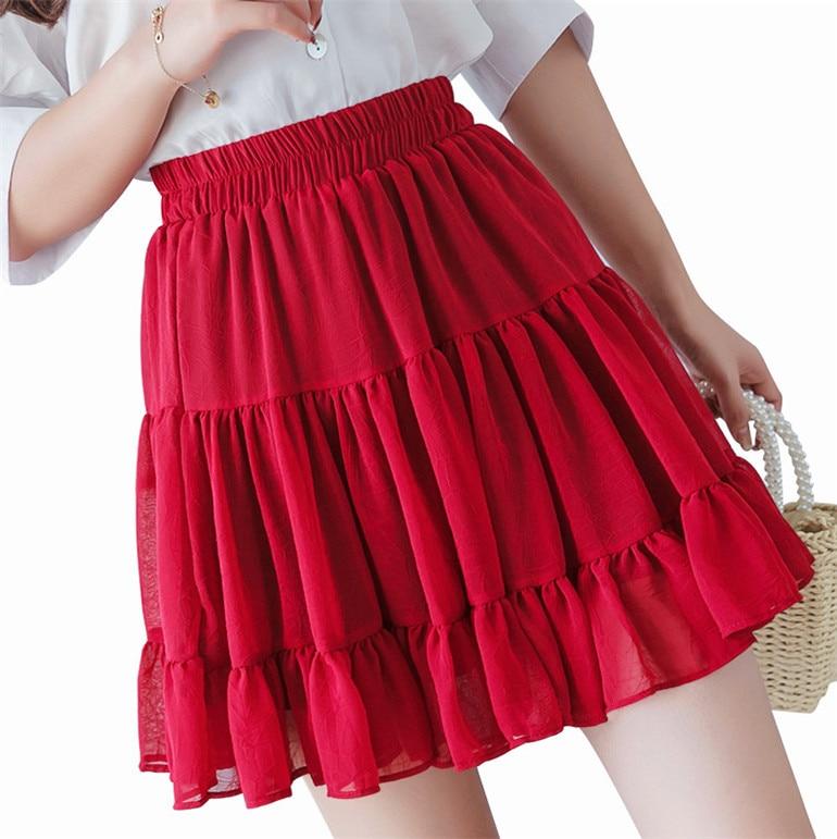 Bohemian Black White Purple Chiffon Skirts Womens Ruffle Pleated Sexy Mini Skirt Female High Waist Plus Size 6xl 7xl Beach Skirt