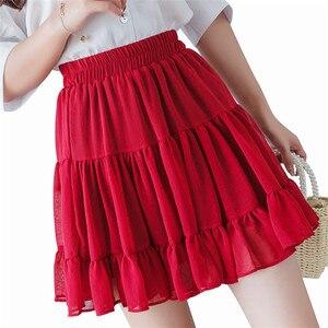 Bohemian black white purple chiffon skirts womens Ruffle pleated sexy mini skirt female High waist plus size 6xl 7xl beach skirt(China)