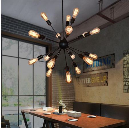 E27 Edison Light Bulb Retro Industrial Bedroom Stair Living Room Headboard Penthouse Chandelier 12/16/18/20 Dining Bar Lamp