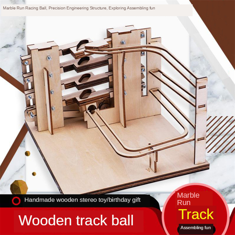 Steam Science Experiment Educational Kit 3D Wooden Marble Run DIY Assemble Mechanical Gear Engineering Model Home Decor Toys