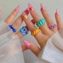FFLACELL – bagues ouvertes irrégulières peintes à la main pour femmes, anneaux géométriques colorés, gouttes d'huile, nouvelle mode, bijoux de fête, 2021, 2021