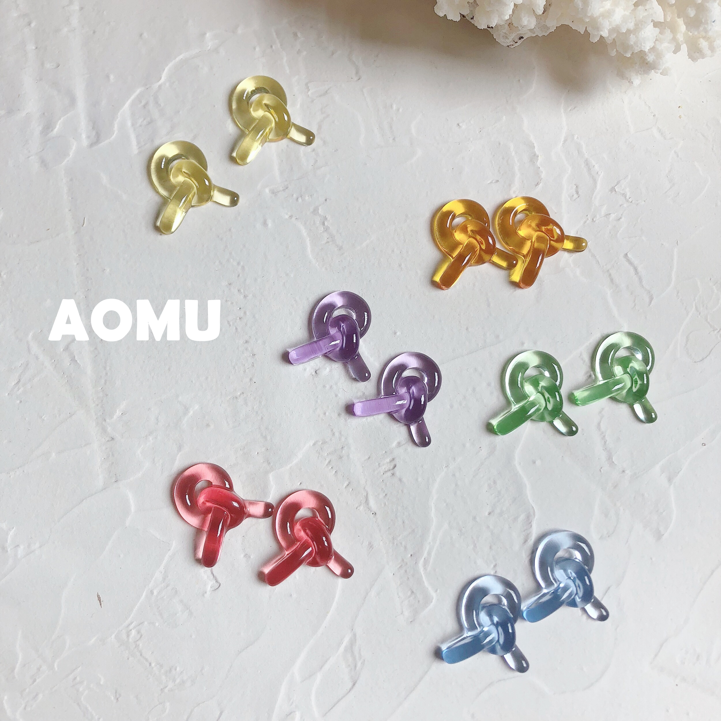 AOMU 1Pair 2020 New Colorful Transparent Resin Knotted Earrings For Women Spring Cute Korea Earring Party Jewelry Gifts